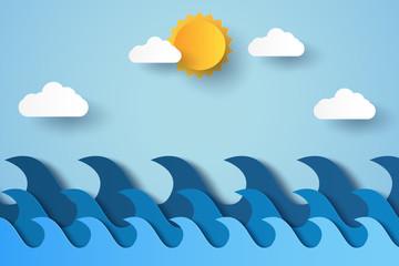 Blue waves in ocean , paper art style