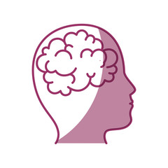 head with Brain icon over white background vector illustration