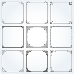 Decorative frames and borders square set vector