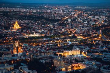 Panorama of night Tbilisi from Mtatsminda