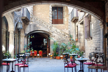 Barcelona, Spain - characteristic courtyard in Barri Gotic district