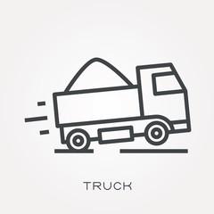 Line icon truck