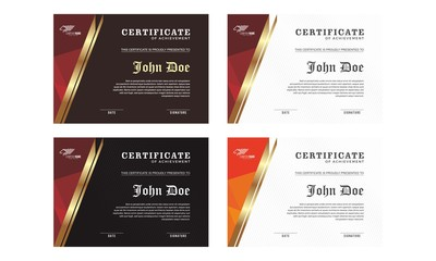 Elegant Red Maroon white gold Certificate decorated template shapes and golden lines vector