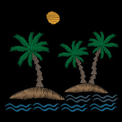 Palm tree with sun and wave embroidery stitches imitation