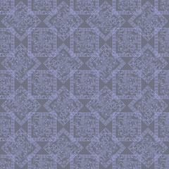 Abstract blue squares and rhombus with ornate objects in them