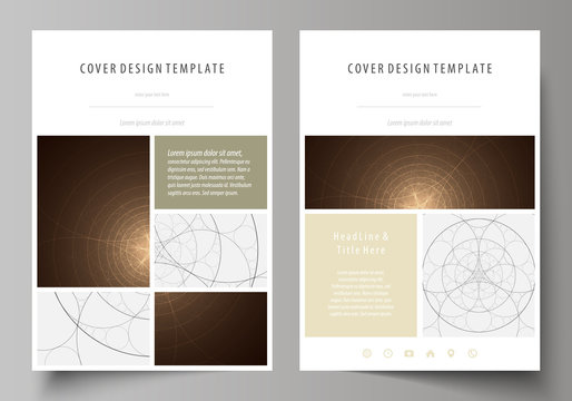 Business templates for brochure, flyer, booklet. Cover design template, abstract vector layout in A4 size. Alchemical theme. Fractal art background. Sacred geometry. Mysterious relaxation pattern.