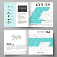 Business templates for square design bi fold brochure, flyer, report. Leaflet cover, abstract vector layout. Chemistry pattern, hexagonal molecule structure. Medicine, science, technology concept.