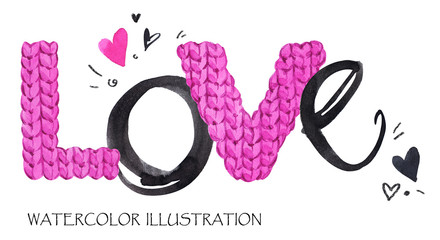 Word Love. Romantic lettering. Hand drawn text background with love word. Valentines day card.