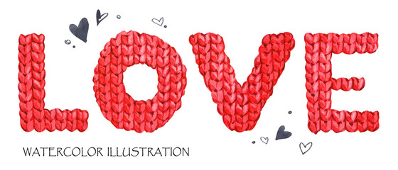 Word Love. Romantic lettering. Hand drawn text background with love word.