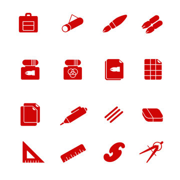 Stuff for drafting as glyph icons / There are some types of paper and devices for drafting