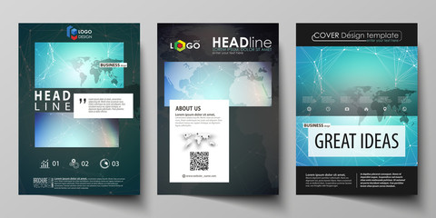 The black colored vector illustration of editable layout of A4 format covers design templates for brochure, magazine, flyer, booklet. Molecule structure, connecting lines and dots. Technology concept.