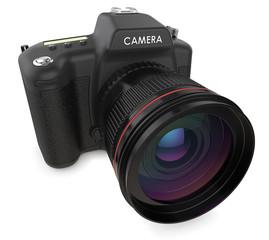Camera. Non branded SLR camera. 3D render.