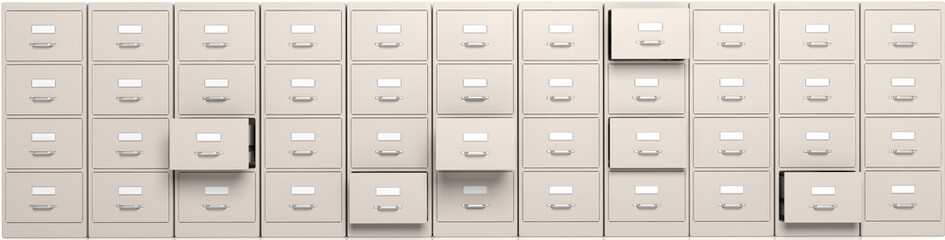 Filing cabinets and open drawers. 3d illustration Wall mural