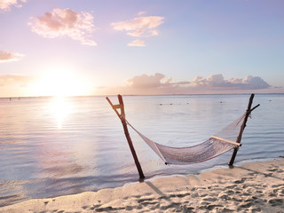 Hammock in the sunset Wall mural