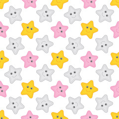 Vector Seamless Pattern with Stars. Seamless Pattern for Baby Girl Shower.