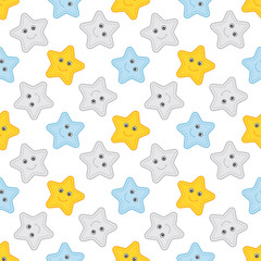 Vector Seamless Pattern with Stars. Seamless Pattern for Baby Boy Shower.
