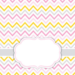 Card Template with Chevron Background.  Baby Girl Shower Vector Illustration.