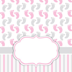Card Template with Baby Girl Footprints. Baby Girl Shower Vector Illustration.