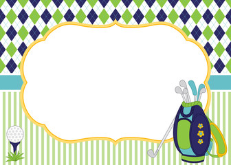 Vector Card Template with Golf Bag, Clubs and Golf Ball. Argyle Background. Golf Vector Illustration.