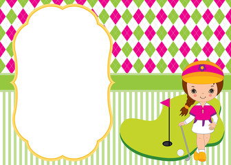 Vector Card Template with Little Girl Playing Golf. Argyle Background. Golf Vector Illustration.