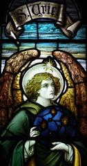 Fototapete - Archangel Uriel in stained glass