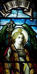Fototapete - Archangel Gabriel in stained glass