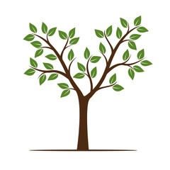 Summer Tree with Leaves. Vector Illustration.