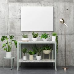 Mock up poster with plants, 3d render, 3d illustration