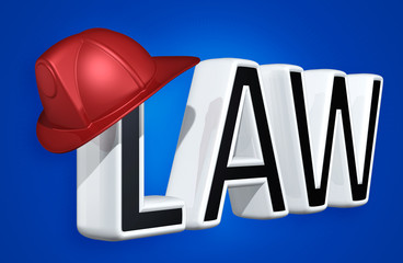 Firefighter Helmet On The Word Law 3D Illustration