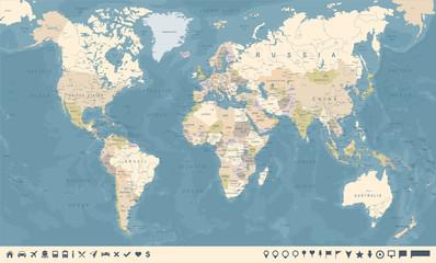 Spoed Foto op Canvas Wereldkaart Vintage World Map and Markers - Vector Illustration