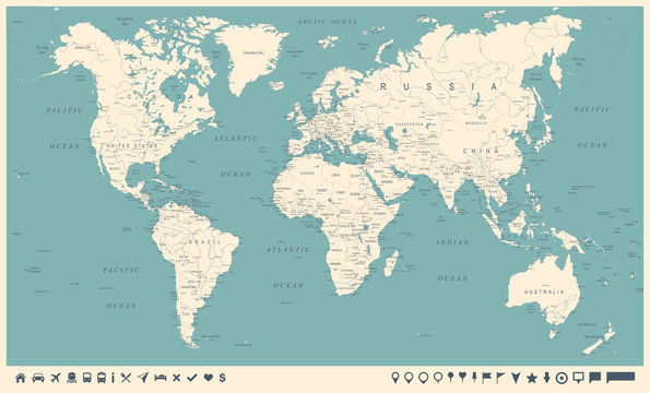 Vintage World Map and Markers - Vector Illustration