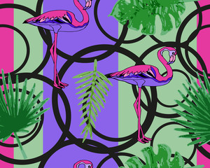 Palm leaves and flamingos, seamless pattern background.