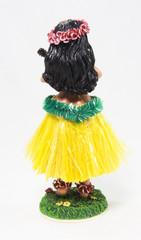 Rear view of kitsch dashboard hula girl.