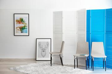 Interior design of living room in light colours