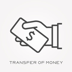 Line icon transfer of money