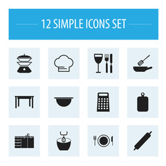Set Of 12 Editable Cook Icons. Includes Symbols Such As Stir, Desk, Frying Pan And More. Can Be Used For Web, Mobile, UI And Infographic Design.