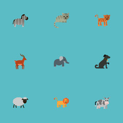 Flat Icons Kine, Mutton, Hound And Other Vector Elements. Set Of Zoology Flat Icons Symbols Also Includes Sheep, Bishop, Merinos Objects.