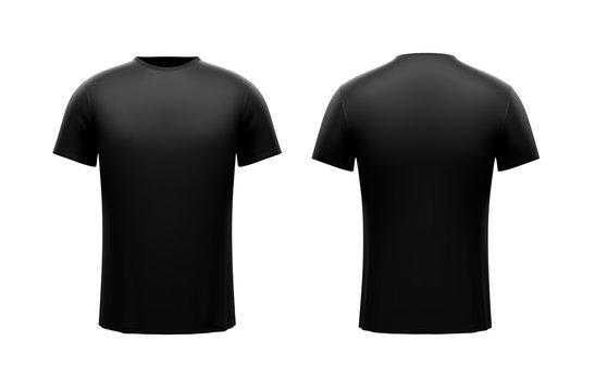 Black male t-shirt on white background. Both sides