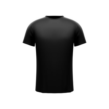 Black male t-shirt on white background. Front side
