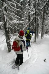 Breaking trail, snowshoe hikers