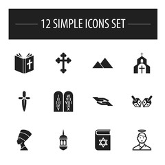 Set Of 12 Editable Dyne Icons. Includes Symbols Such As Crucifix, Bible, Minaret And More. Can Be Used For Web, Mobile, UI And Infographic Design.