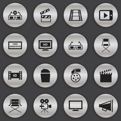 Set Of 16 Editable Filming Icons. Includes Symbols Such As Hd Screen, Cinema Snack, Record Cam And More. Can Be Used For Web, Mobile, UI And Infographic Design.