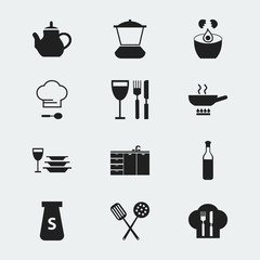 Set Of 12 Editable Restaurant Icons. Includes Symbols Such As Salt, Cuisine Tools, Cooking And More. Can Be Used For Web, Mobile, UI And Infographic Design.