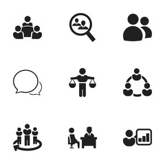 Set Of 9 Editable Community Icons. Includes Symbols Such As Finding Solution, Introducing, Conversation And More. Can Be Used For Web, Mobile, UI And Infographic Design.