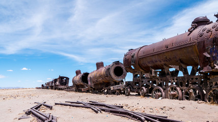 Railroad graveyard in Uyuni Bolivia