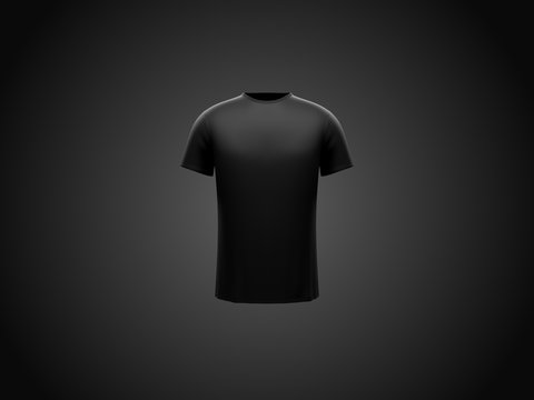 Black male t-shirt on dark black background. Front side