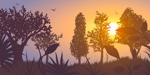 Forest at sunset. Vector Illustration.