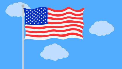 American flag in vector flat illustration
