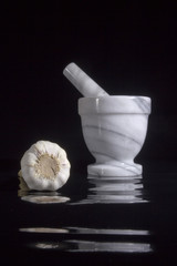 Garlic in mortar and pestle