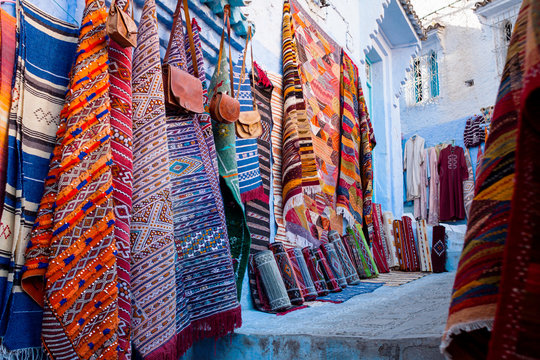 craft market and bazaar stores in the streets of Chefchaouen - Morocco